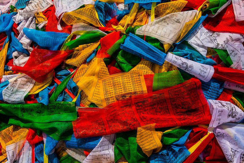 Prayer flags, Yambulakhang Palace, Tibet(Xizang), China.
