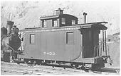 RGS caboose #0403 at Durango.<br /> RGS  Durango, CO  Taken by Jackson, Richard B. - 1939