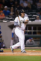 Hector Sanchez (29) of the Charlotte Knights follows through on his swing against the Durham Bulls at BB&T BallPark on April 14, 2016 in Charlotte, North Carolina.  The Bulls defeated the Knights 2-0.  (Brian Westerholt/Four Seam Images)