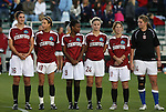 05 December 2008: Stanford's Shira Averbuch (16), Kristy Zurmuhlen (18), Lindsey Forte (9), Morgan Redman (24), Lea MacKinnon (11), and Alex Gamble (14). The Notre Dame Fighting Irish defeated the Stanford Cardinal 1-0 at WakeMed Soccer Park in Cary, NC in an NCAA Division I Women's College Cup semifinal game.