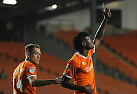 Blackpool's Armand Gnanduillet celebrates scoring his side's equalising goal to make the score 2-2<br /> <br /> Photographer Kevin Barnes/CameraSport<br /> <br /> The Carabao Cup First Round - Blackpool v Macclesfield Town - Tuesday 13th August 2019 - Bloomfield Road - Blackpool<br />  <br /> World Copyright © 2019 CameraSport. All rights reserved. 43 Linden Ave. Countesthorpe. Leicester. England. LE8 5PG - Tel: +44 (0) 116 277 4147 - admin@camerasport.com - www.camerasport.com