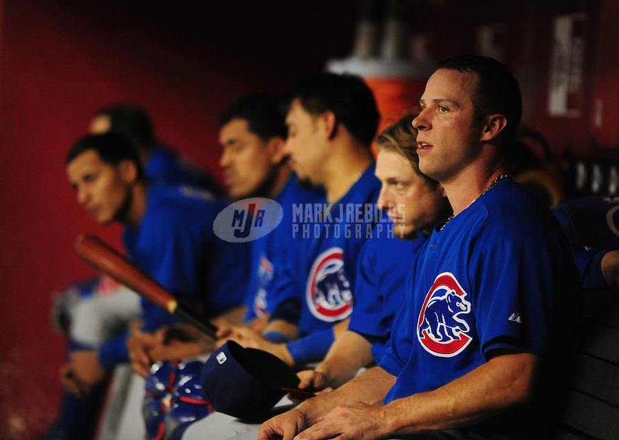 Jul 21, 2008; Phoenix, AZ, USA; Chicago Cubs pitcher Rich Harden (right) against the Arizona Diamondbacks at Chase Field. Mandatory Credit: Mark J. Rebilas-