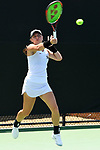 WINSTON SALEM, NC - MAY 22: Christina Rosca of the Vanderbilt Commodores hits a return against the Stanford Cardinal during the Division I Women's Tennis Championship held at the Wake Forest Tennis Center on the Wake Forest University campus on May 22, 2018 in Winston Salem, North Carolina. (Photo by Jamie Schwaberow/NCAA Photos via Getty Images)