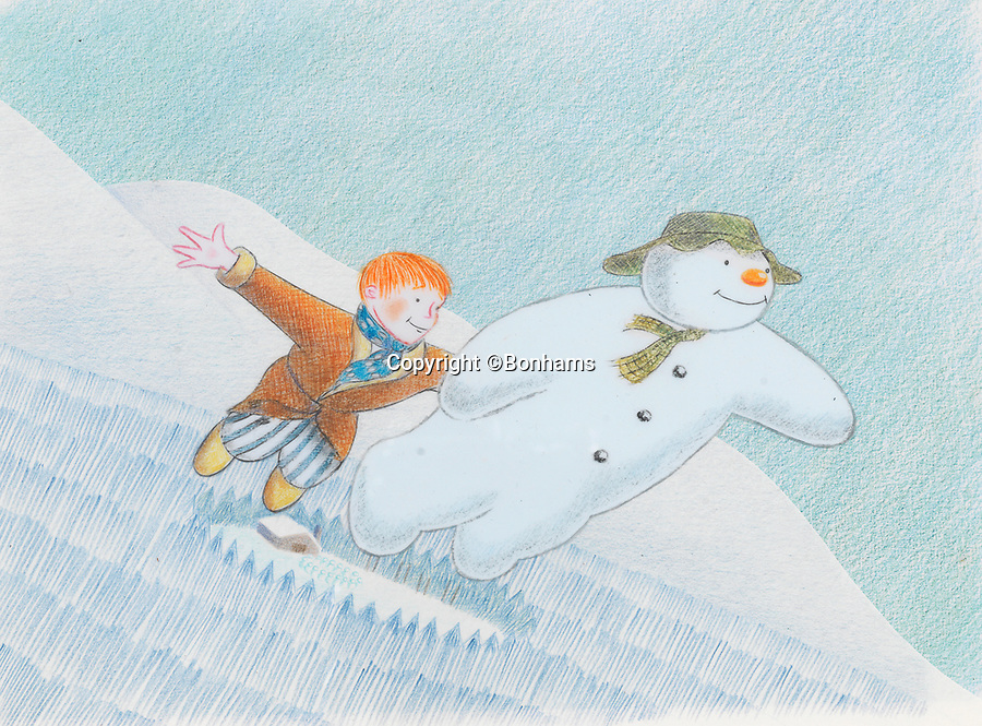 BNPS.co.uk (01202 558833)<br /> Pic: Bonhams/BNPS<br /> <br /> PICTURED: The Snowman: an original animation cel of the Snowman and James Flying.<br /> <br /> Original animation cells from the Christmas film 'The Snowman' have sold at auction for £14,000.<br />  <br /> The 16 drawings were sketched on celluloid plastic and then filmed in sequence to give the impression they were moving.<br /> <br /> They were sold individually, with the most valuable being a picture of James and the Snowman embraced in a hug.