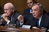 UNITED STATES - SEPTEMBER 27: Sens. Richard Durbin, D-Ill., right, makes remarks during the testimony of Dr. Christine Blasey Ford during the Senate Judiciary Committee hearing on the nomination of Brett M. Kavanaugh to be an associate justice of the Supreme Court of the United States, focusing on allegations of sexual assault by Kavanaugh against Christine Blasey Ford in the early 1980s. Sen. Patrick Leahy, D-Vt., also appears. (Photo By Tom Williams/CQ Roll Call/POOL)