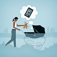 Baby in pram thinking about using smart phone instead of teddy bear