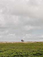 A Sumbanese rides his horse along the shoreline of the Wainyapu village.