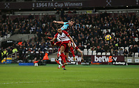 West Ham United's Andy Carroll scores his side's first goal <br /> <br /> Photographer Rob Newell/CameraSport<br /> <br /> The Premier League - West Ham United v West Bromwich Albion - Tuesday 2nd January 2018 - London Stadium - London<br /> <br /> World Copyright &copy; 2018 CameraSport. All rights reserved. 43 Linden Ave. Countesthorpe. Leicester. England. LE8 5PG - Tel: +44 (0) 116 277 4147 - admin@camerasport.com - www.camerasport.com