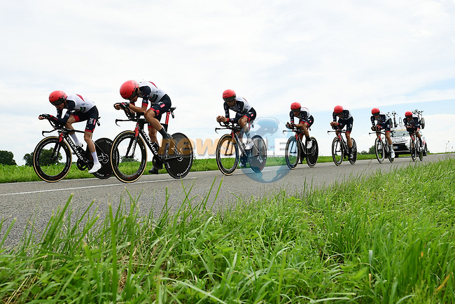 UAE Team Emirates in full flight during Stage 3 of the 2018 Criterium du Dauphine 2018 a Team Time Trial running 35km from Pont de Vaux to Louhans Chateaurenaud, France. 6th June 2018.<br /> Picture: ASO/Alex Broadway | Cyclefile<br /> <br /> <br /> All photos usage must carry mandatory copyright credit (© Cyclefile | ASO/Alex Broadway)