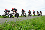 UAE Team Emirates in full flight during Stage 3 of the 2018 Criterium du Dauphine 2018 a Team Time Trial running 35km from Pont de Vaux to Louhans Chateaurenaud, France. 6th June 2018.<br /> Picture: ASO/Alex Broadway | Cyclefile<br /> <br /> <br /> All photos usage must carry mandatory copyright credit (&copy; Cyclefile | ASO/Alex Broadway)