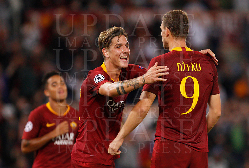 Roma's Edin Dzeko, right, celebrates with his teammate Nicolo' Zaniolo after scoring during the Champions League football match between Roma and Viktoria Plzen at Rome's Olympic stadium, October 2, 2018.<br /> UPDATE IMAGES PRESS/Riccardo De Luca