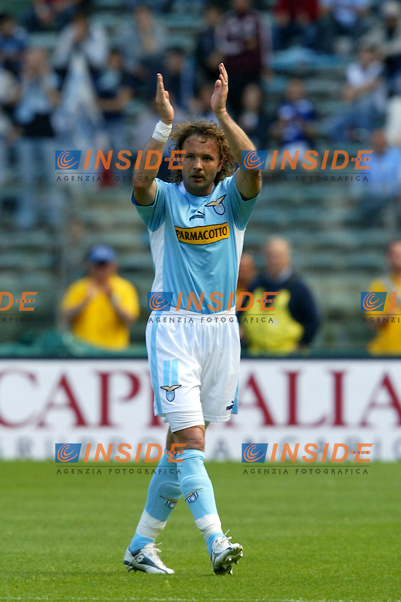 Roma 16/5/2004 Lazio Modena 2-1 Campionato Italiano Serie A 2003/2004 <br /> Sinisa Mihailovic <br /> La Lazio festeggia, al termine della partita, la conquista della Coppa Italia avvenuta Mercoledi 12/5/2004 a Torino contro la Juventus. <br /> Lazio team celebrates, at the end of the championship match, Italy cup victory obtained on Wednesday, May 15 2004 against Juventus.  <br /> Photo Andrea Staccioli Insidefoto