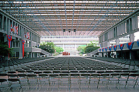 Vancouver: Simon Fraser University. Image 4. Glass-covered Central Hall. (Chairs for commencement exercises.)