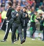 29.04.18 Celtic v Rangers: Brendan Rodgers celebrates as Celtic go 3-0 up