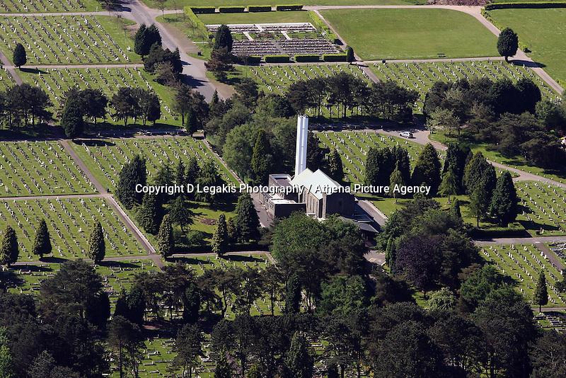 Aerial view of Morriston Crematorium and Cemetery in Swansea