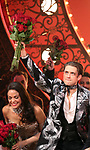"Karen Olivo and Aaron Tveit during the Broadway Opening Night performance Curtain Call bows for ""Moulin Rouge! The Musical"" at the Al Hirschfeld Theatre on July 25, 2019 in New York City."