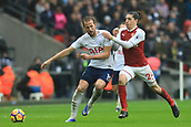 10th February 2018, Wembley Stadium, London England; EPL Premier League football, Tottenham Hotspur versus Arsenal; Héctor Bellerin of Arsenal fouls Harry Kane of Tottenham Hotspur