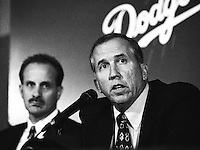 Los Angeles Dodgers General Manager Kevin Malone at the introduction of Dodgers new Manager Davey Johnson at Dodger Stadium during the 1998 season in Los Angeles, California. (Larry Goren/Four Seam Images)