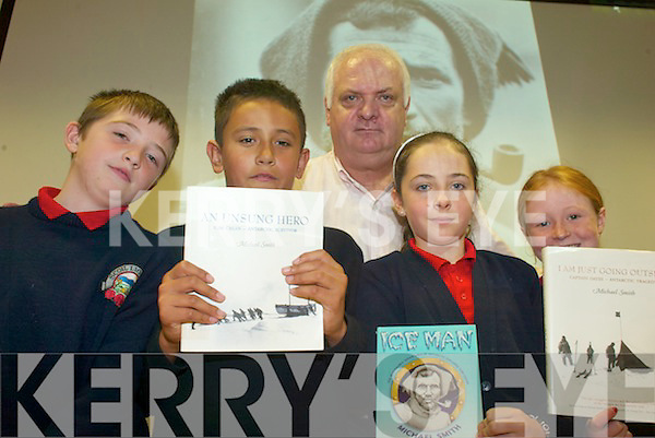 CREAN: Enjoying the lecture by Tom Crean author, Michael Smith at Tralee Library on Friday morning were pupils of Listellick NS, l-r: Kieran Carmody, Danile Cournane, Brogan O'Sullivan, Kiera Horgan.   Copyright Kerry's Eye 2008