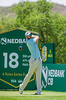 Sebastian Soderberg (SWE) on the 18th tee during the first round at the Nedbank Golf Challenge hosted by Gary Player,  Gary Player country Club, Sun City, Rustenburg, South Africa. 14/11/2019 <br /> Picture: Golffile | Tyrone Winfield<br /> <br /> <br /> All photo usage must carry mandatory copyright credit (© Golffile | Tyrone Winfield)