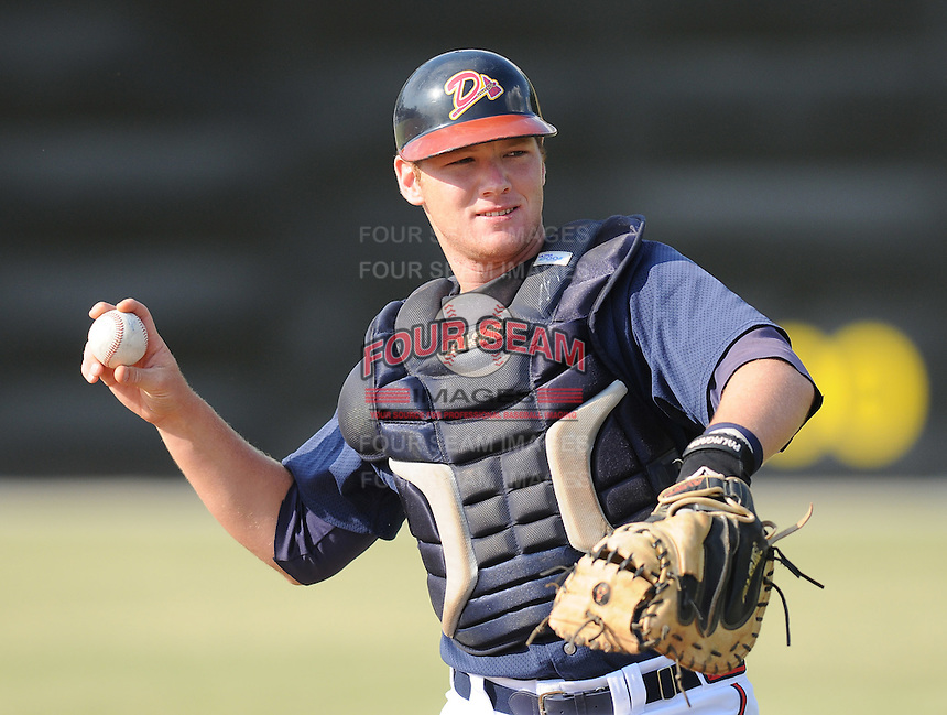 June 19, 2008: Catcher Matt Kennelly (23) of the Danville Braves, rookie Appalachian League affiliate of the Atlanta Braves, prior to a game against the Burlington Royals at Dan Daniel Memorial Park in Danville, Va. Photo by:  Tom Priddy/Four Seam Images
