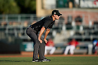 Umpire Justin Whiddon during a Florida State League game between the Clearwater Threshers and Palm Beach Cardinals on August 10, 2019 at Roger Dean Chevrolet Stadium in Jupiter, Florida.  Clearwater defeated Palm Beach 11-4.  (Mike Janes/Four Seam Images)