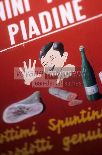 Europe/Italie/Emilie-Romagne/Dozza Imolese : Enseigne du bar vendant des piadina sorte de galette fourrée