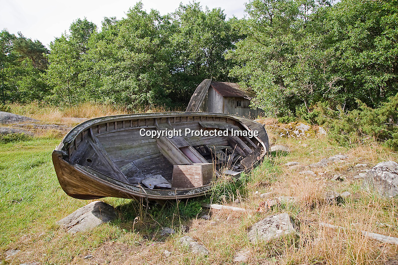 Old Wooden Fishing Boat Resting on the Baltic Island of Kökar