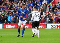 Tempers flare between Cardiff City's Robert Glatzel and Swansea City's Ben Cabango<br /> <br /> Photographer Ian Cook/CameraSport<br /> <br /> The EFL Sky Bet Championship - Cardiff City v Swansea City - Sunday 12th January 2020 - Cardiff City Stadium - Cardiff<br /> <br /> World Copyright © 2020 CameraSport. All rights reserved. 43 Linden Ave. Countesthorpe. Leicester. England. LE8 5PG - Tel: +44 (0) 116 277 4147 - admin@camerasport.com - www.camerasport.com