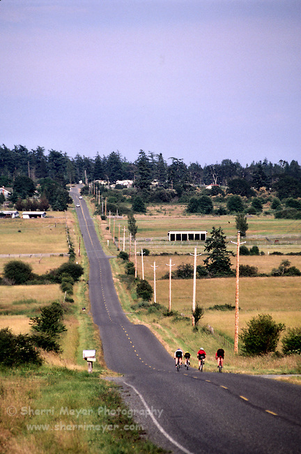 Cyclists pedaling through the countryside on San Juan Island
