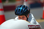 A racer is ready for the start of a race in the Soap Box Derby in Williamsport, PA.