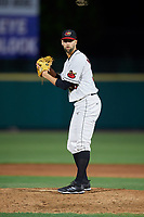 Rochester Red Wings relief pitcher Nick Anderson (38) gets ready to deliver a pitch during a game against the Pawtucket Red Sox on May 19, 2018 at Frontier Field in Rochester, New York.  Rochester defeated Pawtucket 2-1.  (Mike Janes/Four Seam Images)