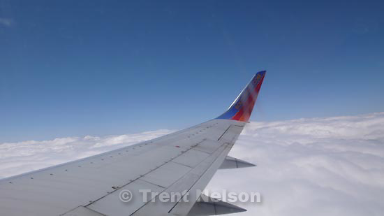 out the window, Southwest flight
