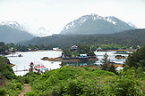USA, Alaska, Homer, an overall view of Halibut Cove in the evening time