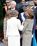 Prince Felipe of Spain (c-r), Princess Letizia of Spain (l), Sofia Queen of Spain (b) and Infanta Elena of Spain attend the National Day Military Parad.October 12,2012.(ALTERPHOTOS/Acero)
