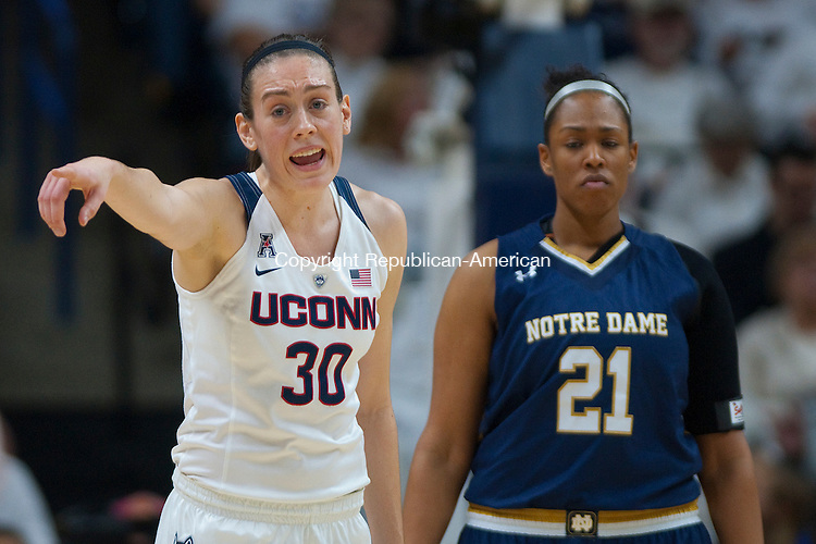 STORRS, CT--- -12015JS15--UConn's Breanna Stewart (30) instructs teammates during their game against Notre Dame Saturday at Gampel Pavilion in Storrs. <br /> Jim Shannon Republican-American