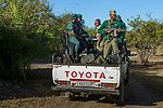 Anti-poaching scout deploying on patrol, Kafue National Park, Zambia