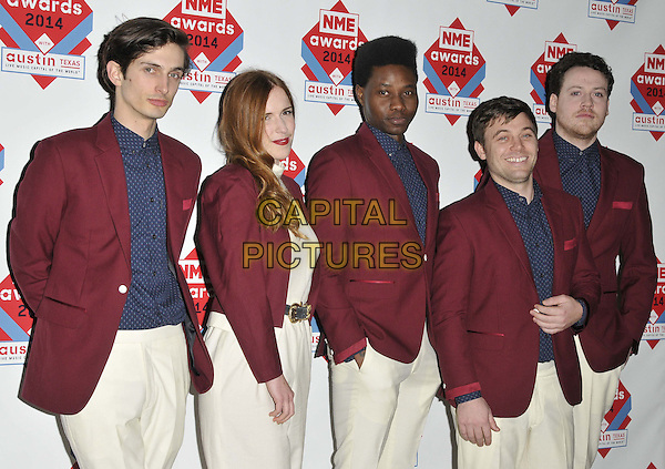 LONDON, ENGLAND - FEBRUARY 26: Metronomy attend the NME Awards 2014, O2 Academy Brixton, February 26, 2014 in London, England, UK.<br /> CAP/CAN<br /> &copy;Can Nguyen/Capital Pictures