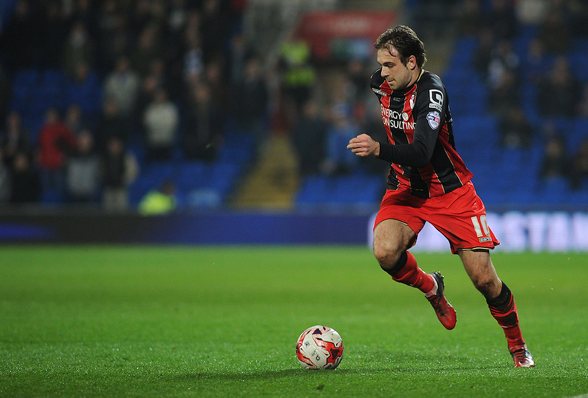 Bournemouth's Brett Pitman in action during todays match  <br /> <br /> Photographer Kevin Barnes/CameraSport<br /> <br /> Football - The Football League Sky Bet Championship - Cardiff v Bournemouth - Tuesday 17th March 2015 - Cardiff City Stadium - Cardiff<br /> <br /> &copy; CameraSport - 43 Linden Ave. Countesthorpe. Leicester. England. LE8 5PG - Tel: +44 (0) 116 277 4147 - admin@camerasport.com - www.camerasport.com