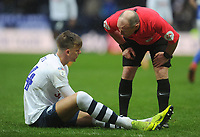 Referee Scott Duncan checks on the injured Brad Potts<br /> <br /> Photographer Kevin Barnes/CameraSport<br /> <br /> The EFL Sky Bet Championship - Preston North End v Birmingham City - Saturday 16th March 2019 - Deepdale Stadium - Preston<br /> <br /> World Copyright &copy; 2019 CameraSport. All rights reserved. 43 Linden Ave. Countesthorpe. Leicester. England. LE8 5PG - Tel: +44 (0) 116 277 4147 - admin@camerasport.com - www.camerasport.com