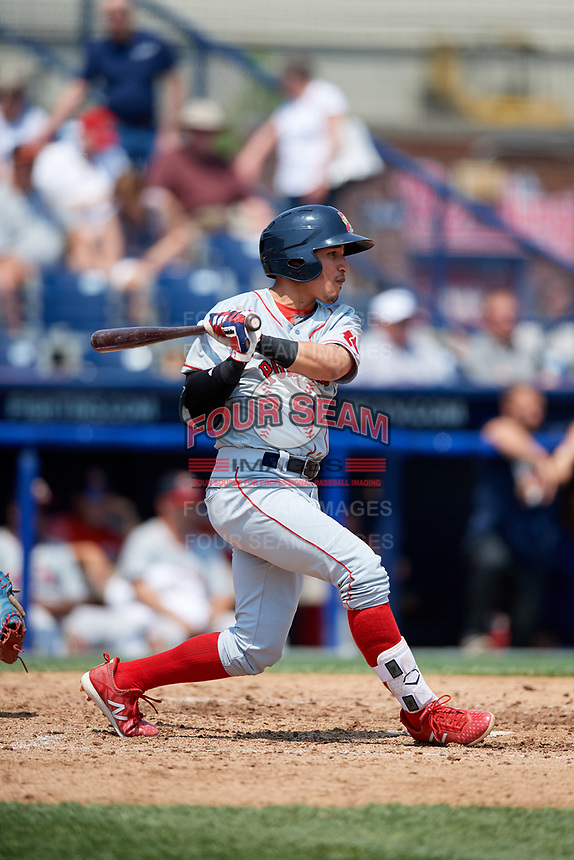 Portland Sea Dogs shortstop Jeremy Rivera (16) follows through on a swing during the first game of a doubleheader against the Reading Fightin Phils on May 15, 2018 at FirstEnergy Stadium in Reading, Pennsylvania.  Portland defeated Reading 8-4.  (Mike Janes/Four Seam Images)
