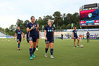 Cary, North Carolina  - Saturday June 17, 2017: Ashley Hatch and Kristen Hamilton prior to a regular season National Women's Soccer League (NWSL) match between the North Carolina Courage and the Boston Breakers at Sahlen's Stadium at WakeMed Soccer Park. The Courage won the game 3-1.