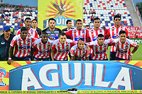 BARRANQUIILLA - COLOMBIA, 06-09-2018: Jugadores del Junior posan para una foto previo al partido entre Atlético Junior y Rionegro Águilas por la fecha 8 de la Liga Águila II 2018 jugado en el estadio Romelio Martínez de la ciudad de Barranquilla. / Players of Junior pose to a photo prior the match between Atletico Junior and Rionegro Aguilas for the date 8 of the Aguila League II 2018 played at Romelio Martinez stadium in Barranquilla city.  Photo: VizzorImage/ Alfonso Cervantes / Cont