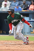 Greenville Drive center fielder Manuel Margot #2 swings at a pitch during a game against the  Asheville Tourists at McCormick Field on May 18, 2014 in Asheville, North Carolina. The Tourists defeated the Drive 3-1. (Tony Farlow/Four Seam Images)
