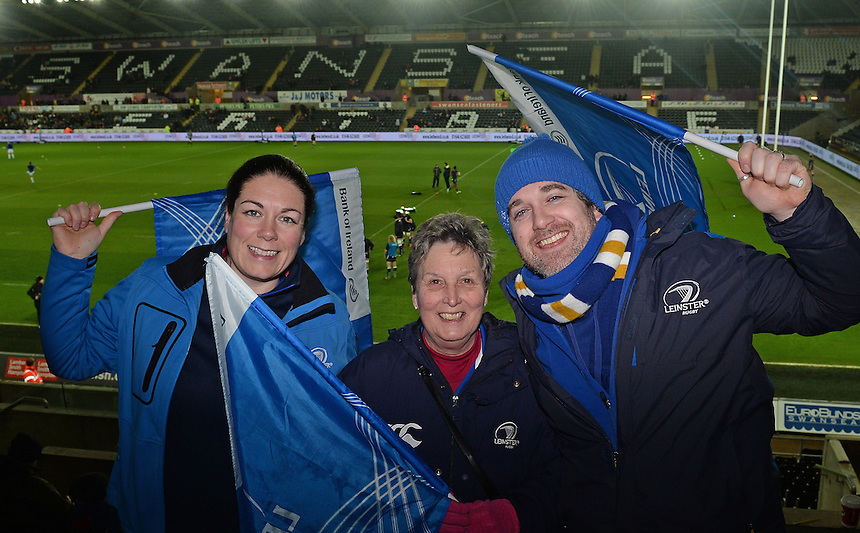 Leinster fans prior to kick off, <br /> <br /> Photographer Ian Cook/CameraSport<br /> <br /> Rugby Union - Guinness PRO12 - Ospreys V Leinster - Friday 27th February 2015 - Liberty Stadium - Swansea<br /> <br /> &copy; CameraSport - 43 Linden Ave. Countesthorpe. Leicester. England. LE8 5PG - Tel: +44 (0) 116 277 4147 - admin@camerasport.com - www.camerasport.com
