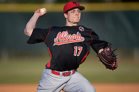 Illinois State Redbirds relief pitcher Marcus McKinney (17) delivers a pitch during a game against the Indiana Hoosiers on March 4, 2016 at North Charlotte Regional Park in Port Charlotte, Florida.  Indiana defeated Illinois State 14-1.  (Mike Janes/Four Seam Images)