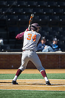 Brendon Hayden (34) of the Virginia Tech Hokies at bat against the Wake Forest Demon Deacons at Wake Forest Baseball Park on March 7, 2015 in Winston-Salem, North Carolina.  The Hokies defeated the Demon Deacons 12-7 in game one of a double-header.   (Brian Westerholt/Four Seam Images)