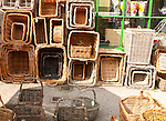 Display of wicker baskets in Burford, Oxfordshire, England, UK