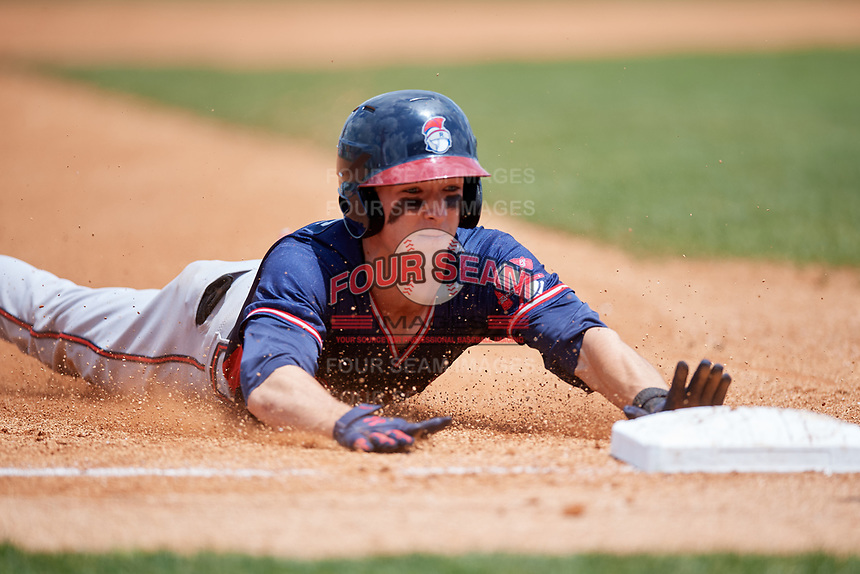 Rome Braves center fielder Drew Waters (11) slides into third base after hitting a triple during a game against the Lexington Legends on May 23, 2018 at Whitaker Bank Ballpark in Lexington, Kentucky.  Rome defeated Lexington 4-1.  (Mike Janes/Four Seam Images)