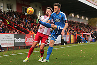 Matthew Godden of Stevenage and Shaun Brisley of Notts County during Stevenage vs Notts County, Sky Bet EFL League 2 Football at the Lamex Stadium on 11th November 2017